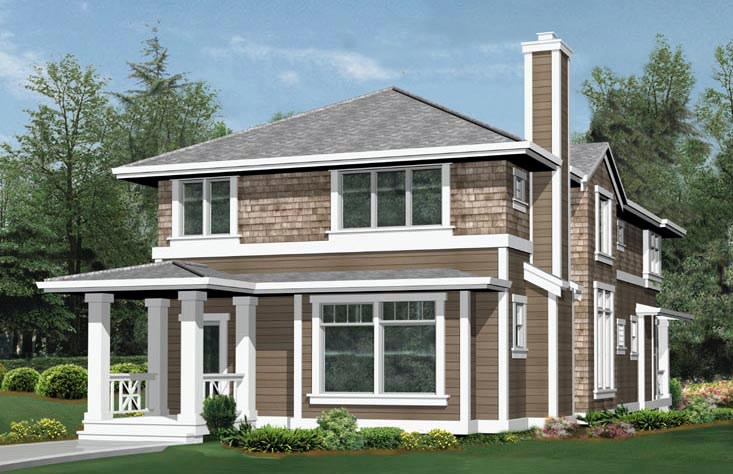 Craftsman, Narrow Lot House Plan 87447 with 3 Beds, 3 Baths, 3 Car Garage Rear Elevation