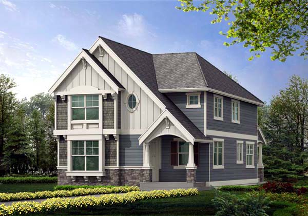 Craftsman, Narrow Lot, Tudor House Plan 87464 with 4 Beds, 3 Baths, 2 Car Garage Elevation