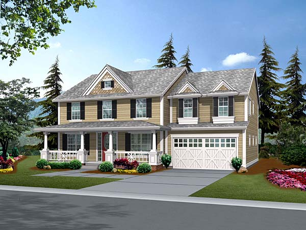 Country House Plan 87493 with 4 Beds, 3 Baths, 3 Car Garage Elevation