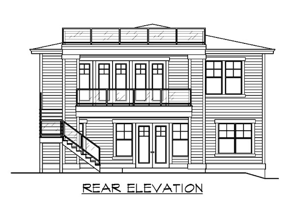 Craftsman House Plan 87495 with 4 Beds, 3 Baths, 3 Car Garage Rear Elevation