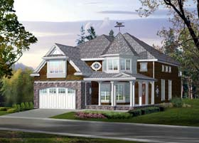 Victorian House Plan 87497 with 4 Beds, 3 Baths, 3 Car Garage Elevation