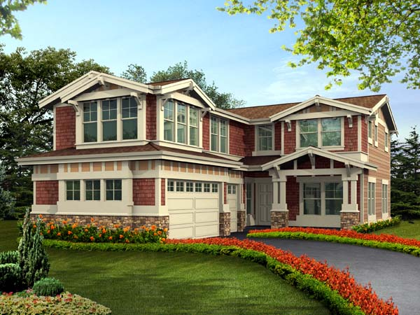 Craftsman House Plan 87498 with 5 Beds, 4 Baths, 3 Car Garage Elevation