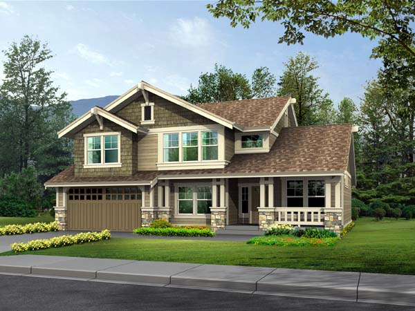 Bungalow , Craftsman , Elevation of Plan 87500