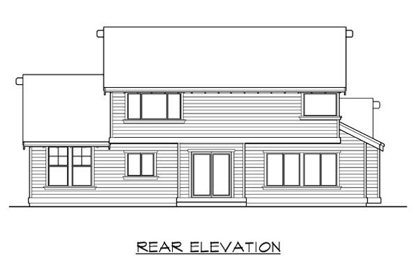 Bungalow , Craftsman , Rear Elevation of Plan 87500