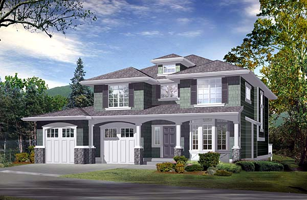 House Plan 87502 | Southwest Traditional Style Plan with 1962 Sq Ft, 2 Bedrooms, 3 Bathrooms, 2 Car Garage Elevation