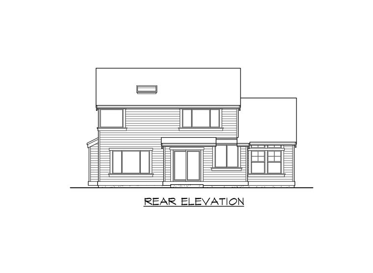 Traditional House Plan 87505 with 3 Beds, 3 Baths, 3 Car Garage Rear Elevation