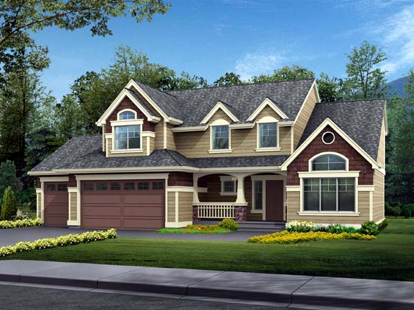House Plan 87507 | Country Style Plan with 2157 Sq Ft, 4 Bedrooms, 3 Bathrooms, 3 Car Garage Elevation
