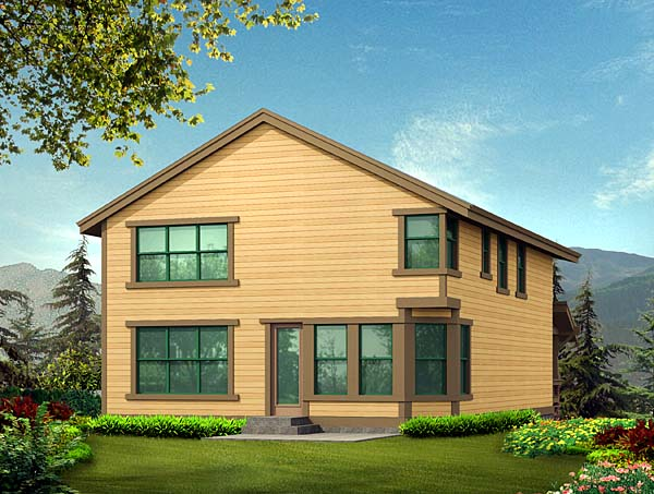 Craftsman House Plan 87535 with 3 Beds, 3 Baths, 2 Car Garage Rear Elevation