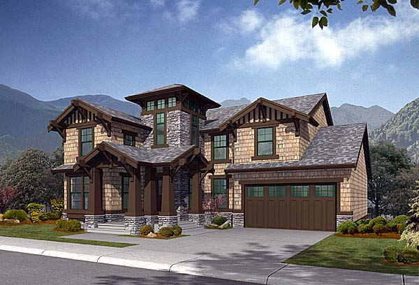 Craftsman Southwest Tuscan Elevation of Plan 87536