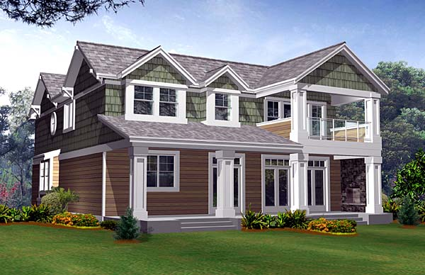Craftsman House Plan 87538 with 3 Beds, 3 Baths, 2 Car Garage Rear Elevation
