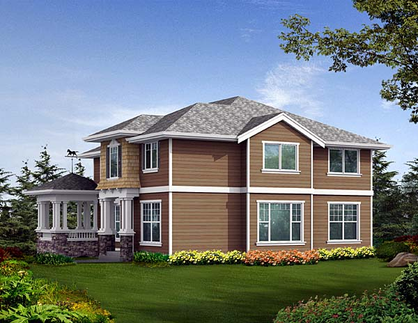 House Plan 87552 | Craftsman Style Plan with 3220 Sq Ft, 3 Bedrooms, 3 Bathrooms, 3 Car Garage Rear Elevation
