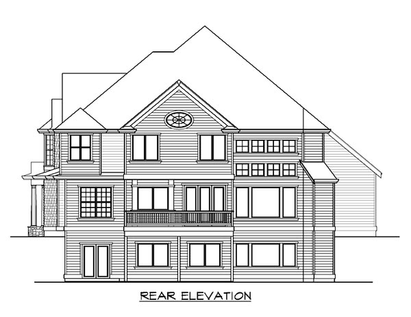 Farmhouse, Victorian House Plan 87572 with 5 Beds, 5 Baths, 3 Car Garage Rear Elevation