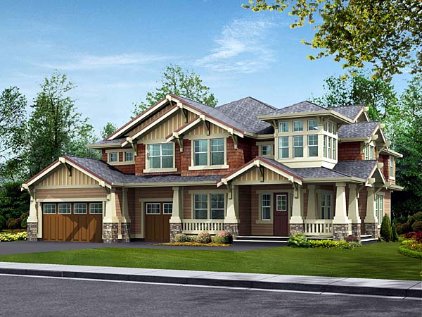 Bungalow, Craftsman House Plan 87573 with 5 Beds, 5 Baths, 3 Car Garage Elevation