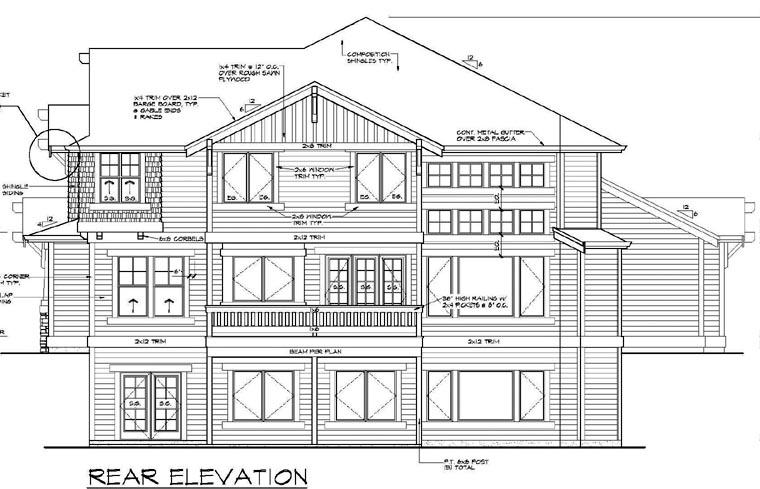Bungalow Craftsman Rear Elevation of Plan 87573