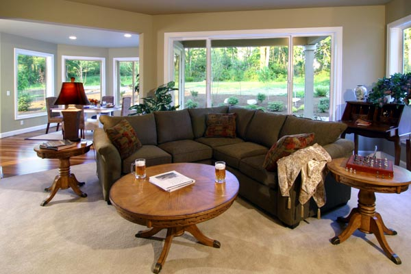 Views from the family room include the breakfast area rear covered patio and the great outdoors beyond.