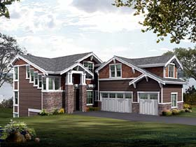 Contemporary Craftsman House Plan 87577 Elevation