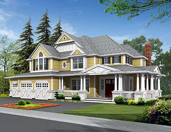 Country Craftsman Farmhouse Elevation of Plan 87585