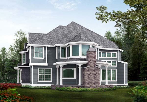 Farmhouse Victorian Rear Elevation of Plan 87587