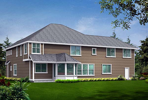 European, Victorian House Plan 87597 with 4 Beds, 4 Baths, 3 Car Garage Rear Elevation