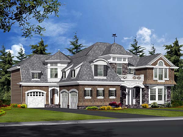 Colonial European Tudor Victorian Elevation of Plan 87598