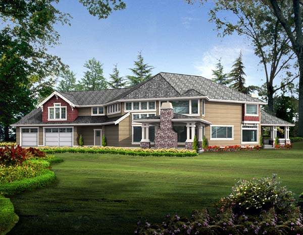 Country, Farmhouse House Plan 87602 with 5 Beds, 5 Baths, 3 Car Garage Rear Elevation