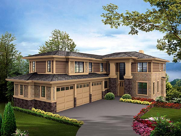 Prairie Style Southwest House Plan 87622 Elevation