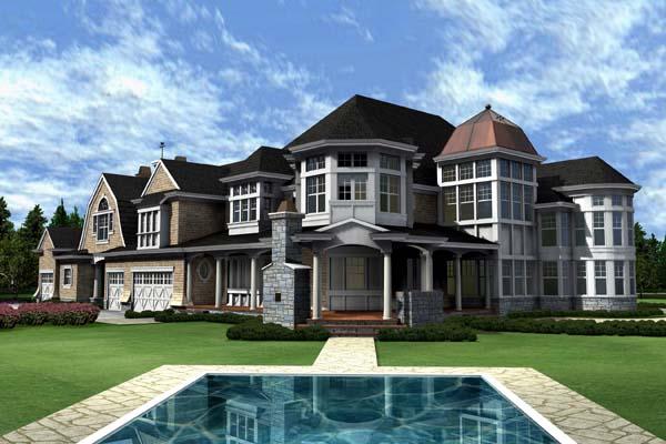 Farmhouse , Coastal House Plan 87642 with 4 Beds, 6 Baths, 3 Car Garage Rear Elevation