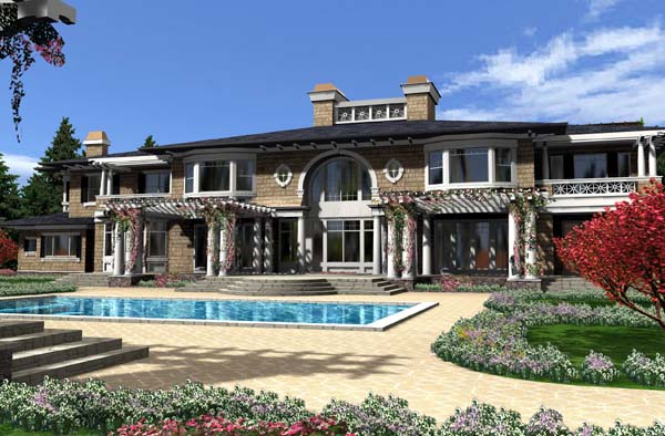 Colonial House Plan 87644 with 4 Beds, 8 Baths, 3 Car Garage Rear Elevation