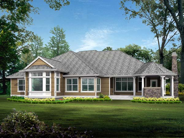 Colonial Country Craftsman House Plan 87646 Rear Elevation