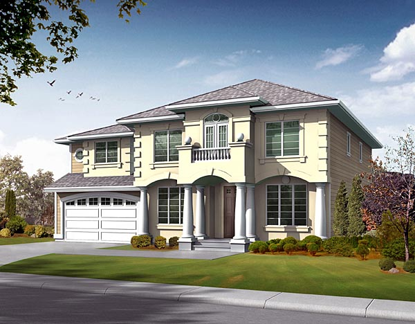 House Plan 87650 | Colonial Style Plan with 3500 Sq Ft, 4 Bedrooms, 3 Bathrooms, 3 Car Garage Elevation