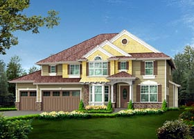 Colonial , Traditional House Plan 87654 with 4 Beds, 4 Baths, 3 Car Garage Elevation