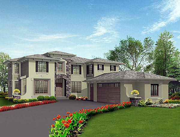 Prairie Style Southwest House Plan 87657 Elevation