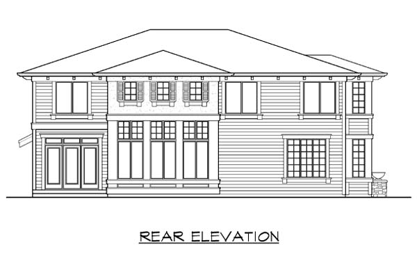 Prairie Style Southwest House Plan 87657 Rear Elevation