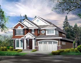 Colonial House Plan 87660 with 4 Beds, 4 Baths, 3 Car Garage Elevation