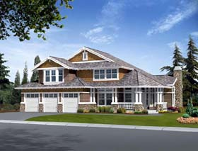 Craftsman House Plan 87662 with 6 Beds, 4 Baths, 3 Car Garage Elevation