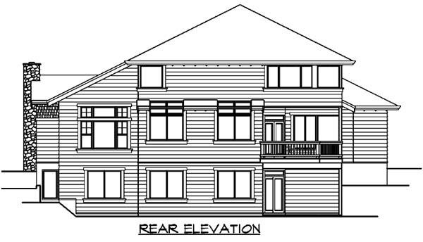 Craftsman House Plan 87662 with 6 Beds, 4 Baths, 3 Car Garage Rear Elevation