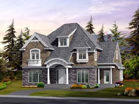 Colonial Craftsman European House Plan 87663 Elevation