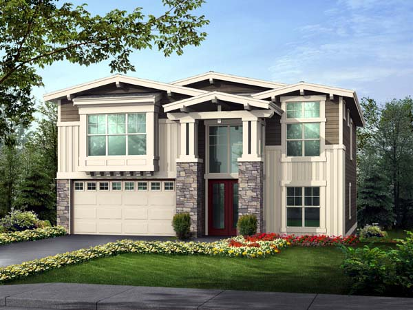 Contemporary Craftsman Elevation of Plan 87667