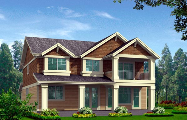 House Plan 87677 with 3 Beds, 3 Baths, 2 Car Garage Rear Elevation