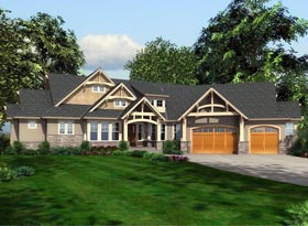 House Plan 87681 | Cottage Traditional Style Plan with 5515 Sq Ft, 5 Bedrooms, 4 Bathrooms, 3 Car Garage Elevation