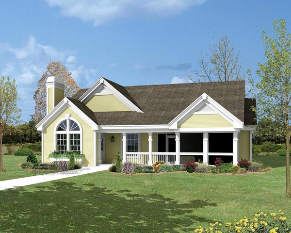 Cottage Country Ranch Traditional Elevation of Plan 87800