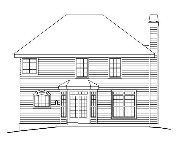 Country, Traditional House Plan 87802 with 4 Beds, 3 Baths, 2 Car Garage Rear Elevation