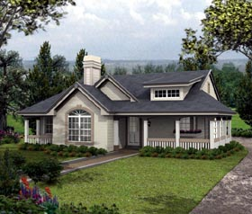 House Plan 87804 | Bungalow Cottage Country Ranch Style Plan with 1316 Sq Ft, 2 Bedrooms, 2 Bathrooms, 2 Car Garage Elevation
