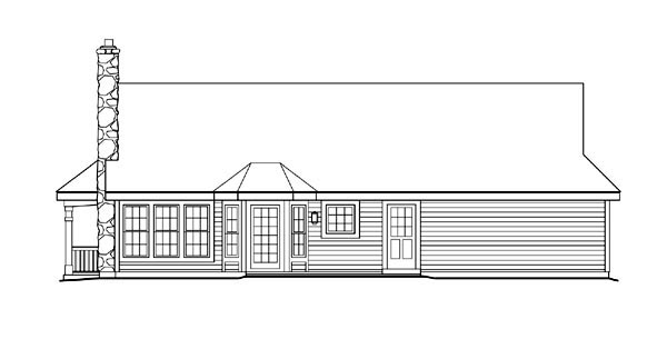 Bungalow Country Ranch Rear Elevation of Plan 87806