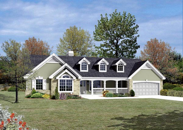 Cape Cod Country Ranch Traditional House Plan 87807 Elevation