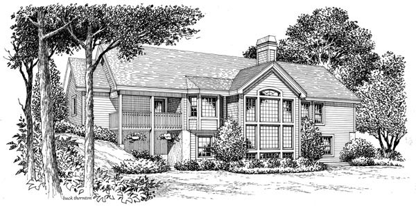 Cape Cod , Country , Ranch , Traditional House Plan 87807 with 3 Beds, 2 Baths, 2 Car Garage Rear Elevation