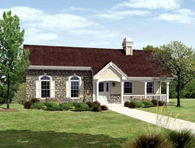Cottage Country Ranch House Plan 87810 Elevation