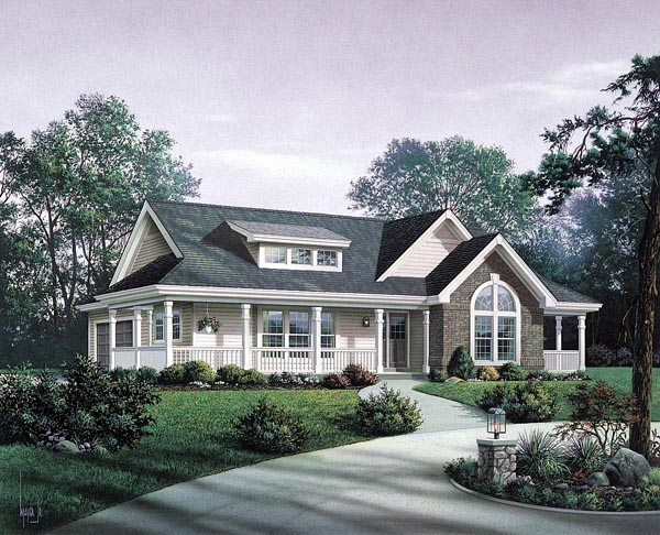Bungalow Country Craftsman Ranch House Plan 87811 Elevation
