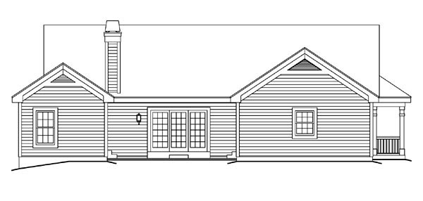 Bungalow Country Craftsman Ranch House Plan 87811 Rear Elevation