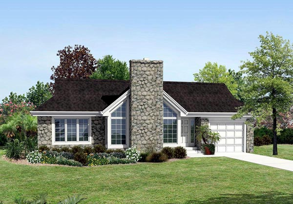 Contemporary Country Ranch House Plan 87814 Elevation